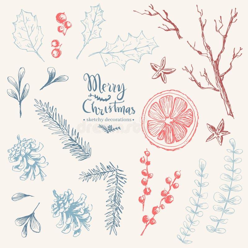 Sistema dibujado mano del vector de elementos herbarios naturales de la Navidad niebla libre illustration