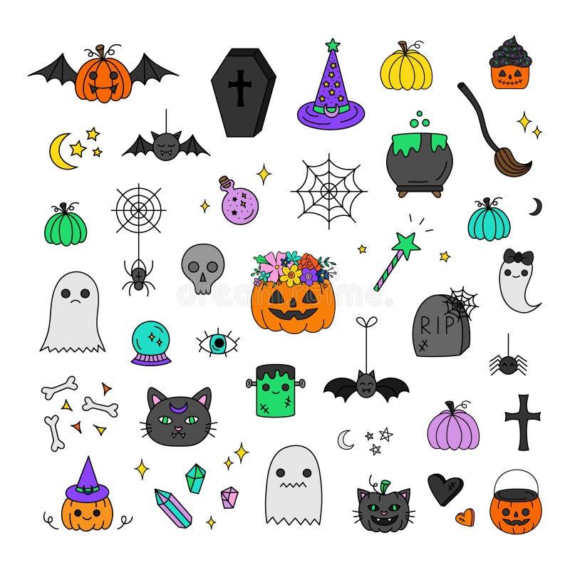 Sistema dibujado mano del vector de Halloween stock de ilustración