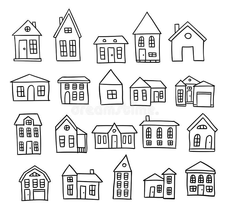 Sistema dibujado mano del vector de la casa ilustración del vector
