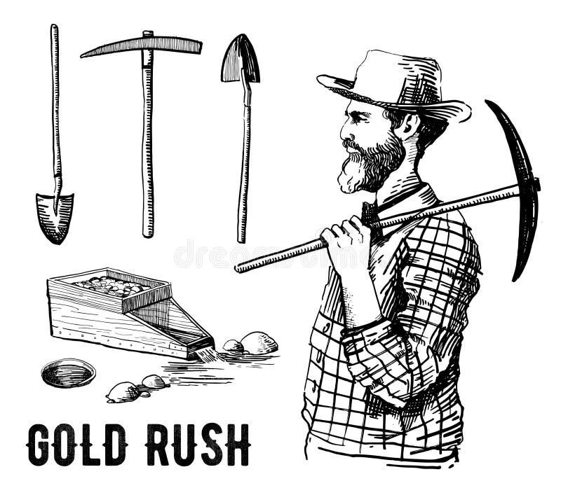 Sistema dibujado mano del vector de la fiebre del oro de California con el minero y las herramientas libre illustration