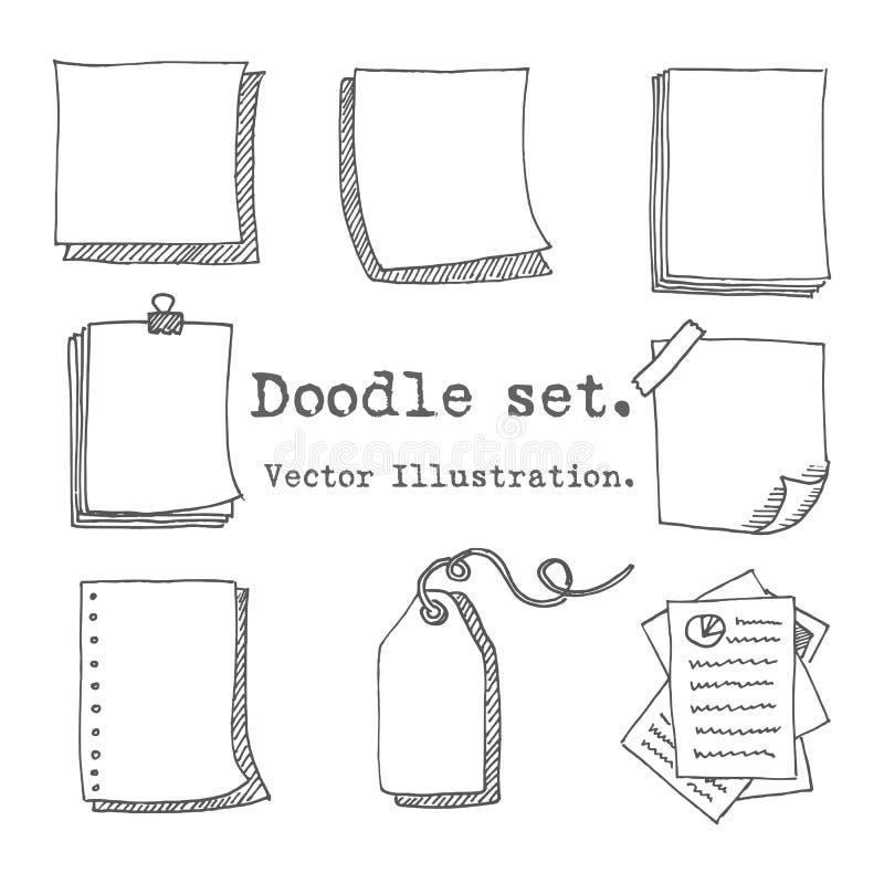 Sistema dibujado mano del vector de la hoja de papel, paquete de papel, etiqueta, nota pegajosa, página de la libreta con el pern libre illustration