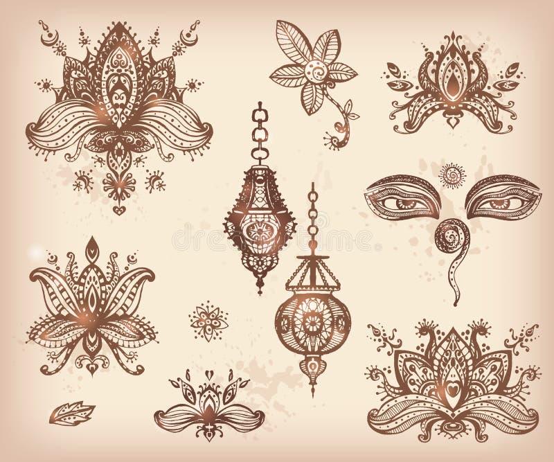Sistema dibujado mano del vector de los elementos, de los ojos y de l florales de los lotos de la alheña stock de ilustración