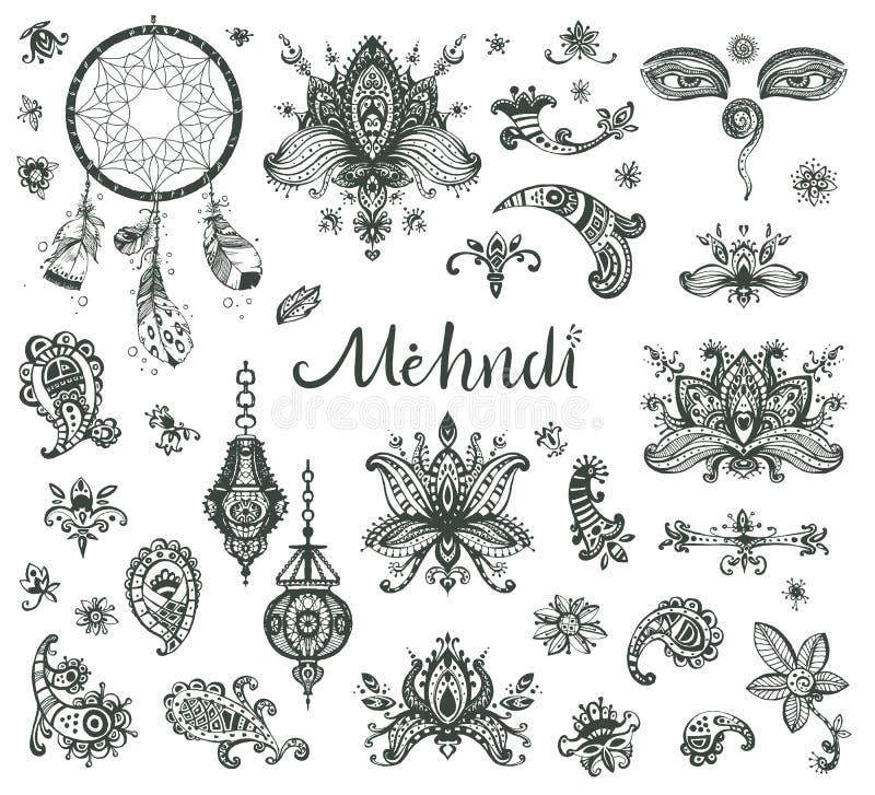 Sistema dibujado mano del vector de los elementos, de los ojos y de l florales de los lotos de la alheña ilustración del vector