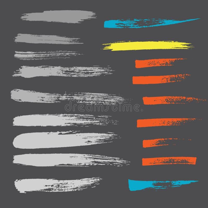 Sistema dibujado mano del vector del movimiento del cepillo del Grunge libre illustration