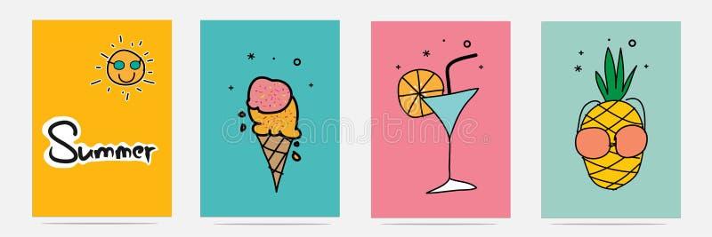 Sistema dibujado mano del verano libre illustration