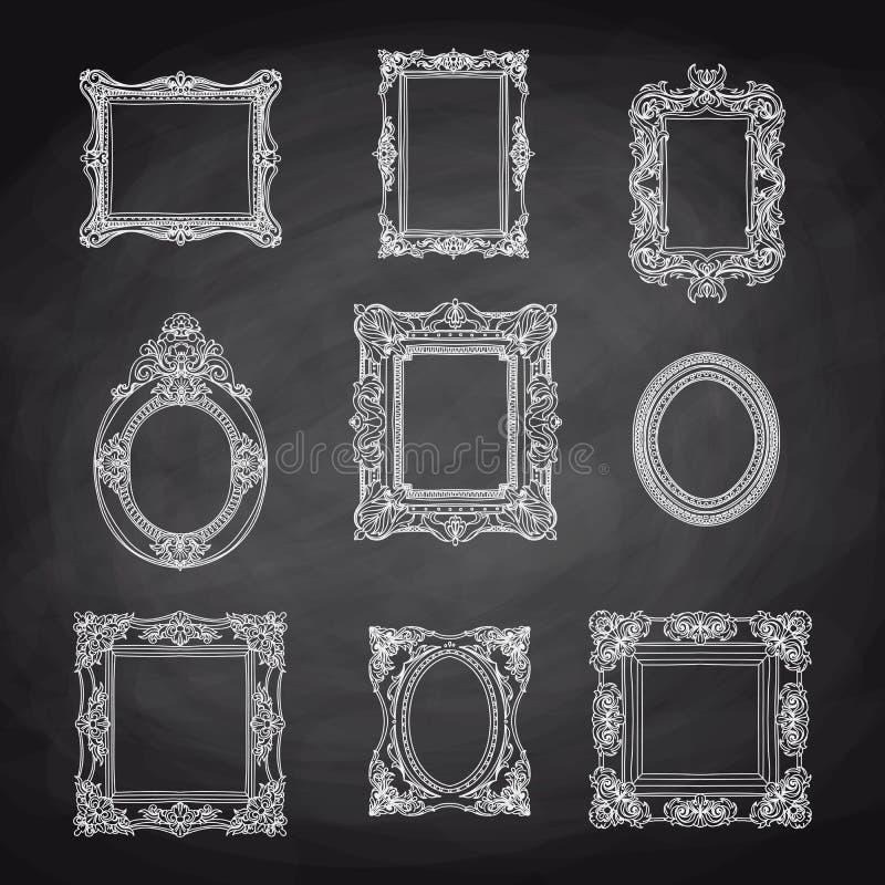 Sistema dibujado mano del vintage del vector con los marcos ilustración del vector
