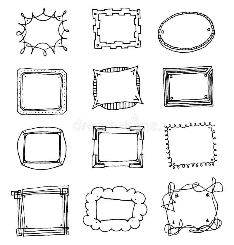 Sistema Dibujado Mano Divertida Del Marco Stock de ilustración ...