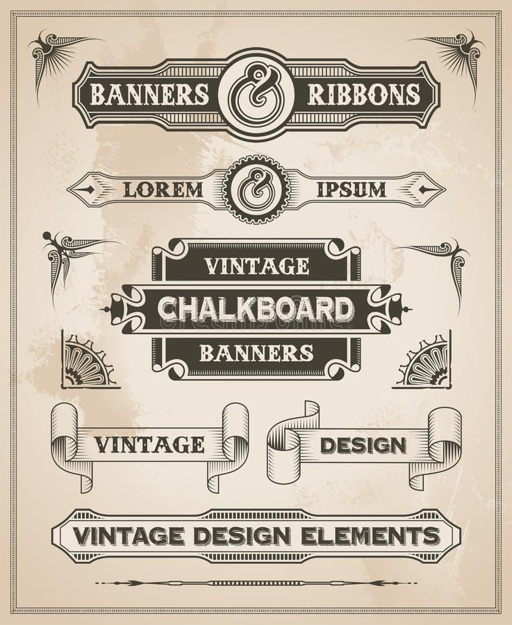 Sistema dibujado mano retra de la bandera del vintage stock de ilustración