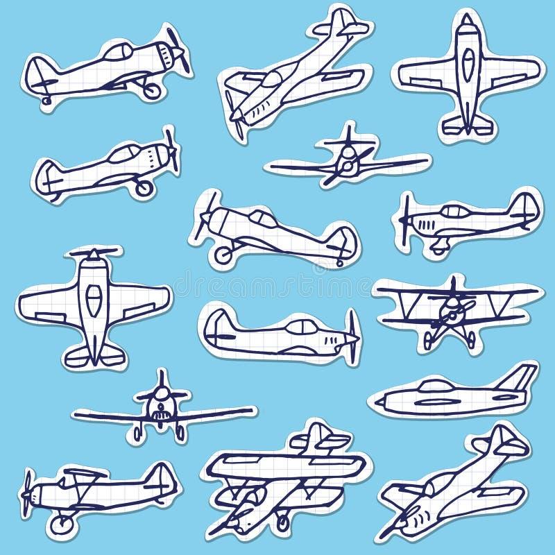 Sistema dibujado mano retra del vector de los aeroplanos ilustración del vector