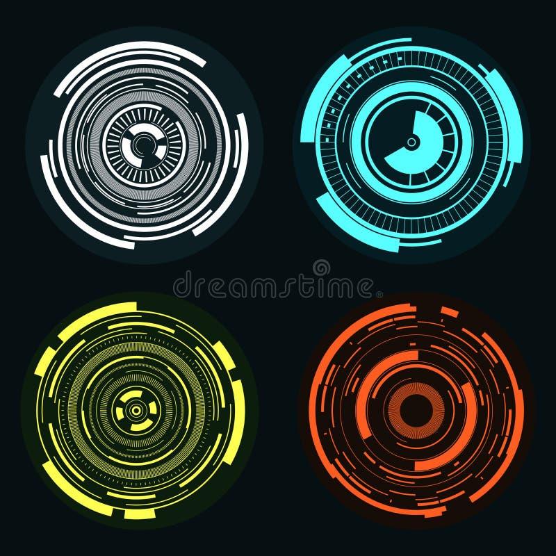 Sistema digital coloreado del círculo stock de ilustración