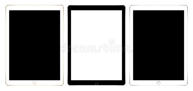 Sistema digital de la colección de la tableta de la maqueta aislado en el diseño blanco del vector ilustración del vector