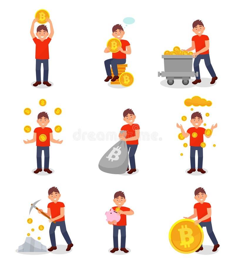 Sistema digital del dinero del bitcoin de la explotación minera del hombre joven, ejemplos del vector del concepto de la tecnolog ilustración del vector