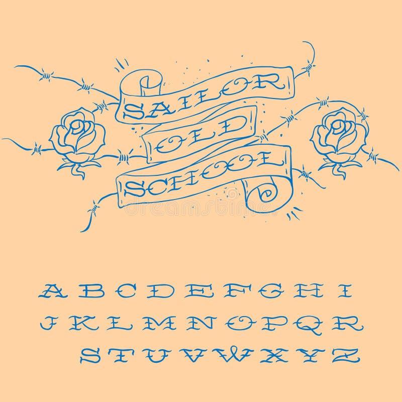 sistema diseñado Viejo-escuela del alfabeto del tatuaje ilustración del vector