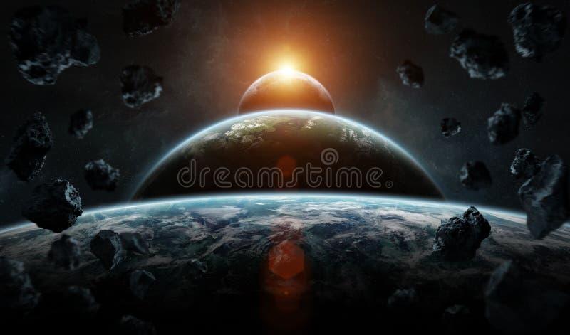 Sistema distante del pianeta nello spazio con il elem della rappresentazione dei exoplanets 3D royalty illustrazione gratis