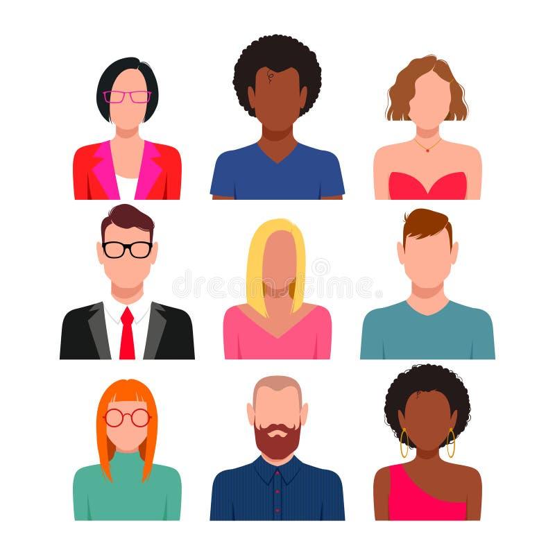 Sistema diverso del avatar de la gente stock de ilustración
