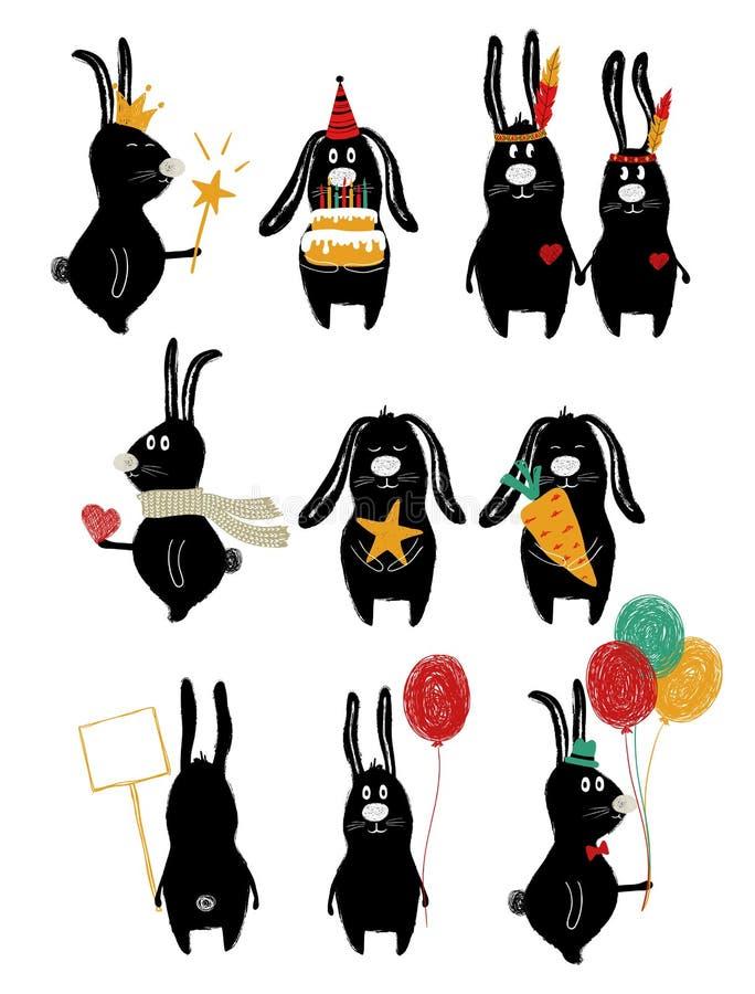 Sistema divertido con el conejo lindo stock de ilustración