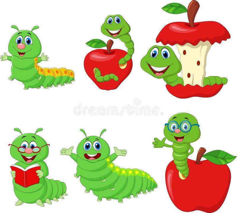 Sistema divertido de la colección de Caterpillar de la historieta ilustración del vector