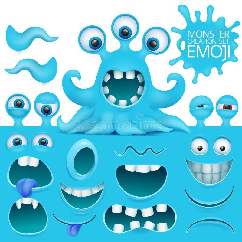 Sistema divertido de la creación del carácter del monstruo del emoji del pulpo ilustración del vector