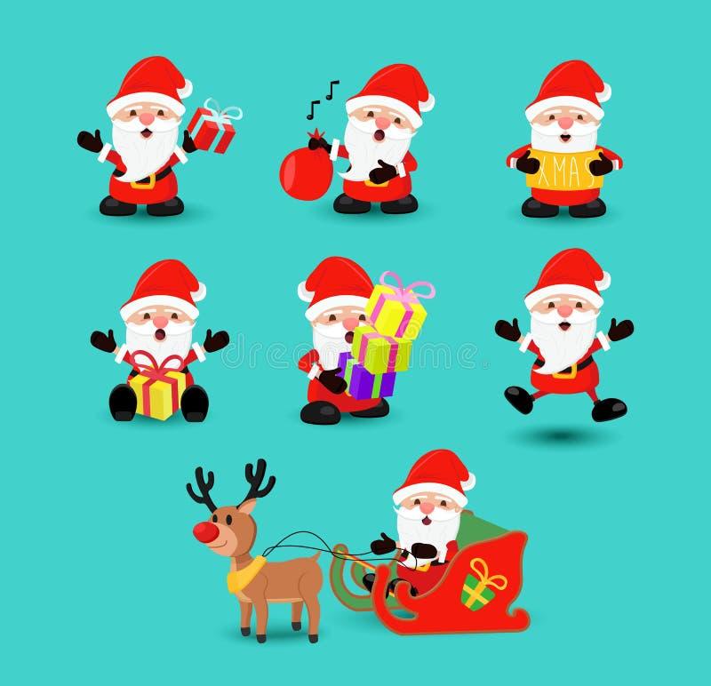 Sistema divertido de la historieta del día de fiesta de Papá Noel de la Navidad stock de ilustración
