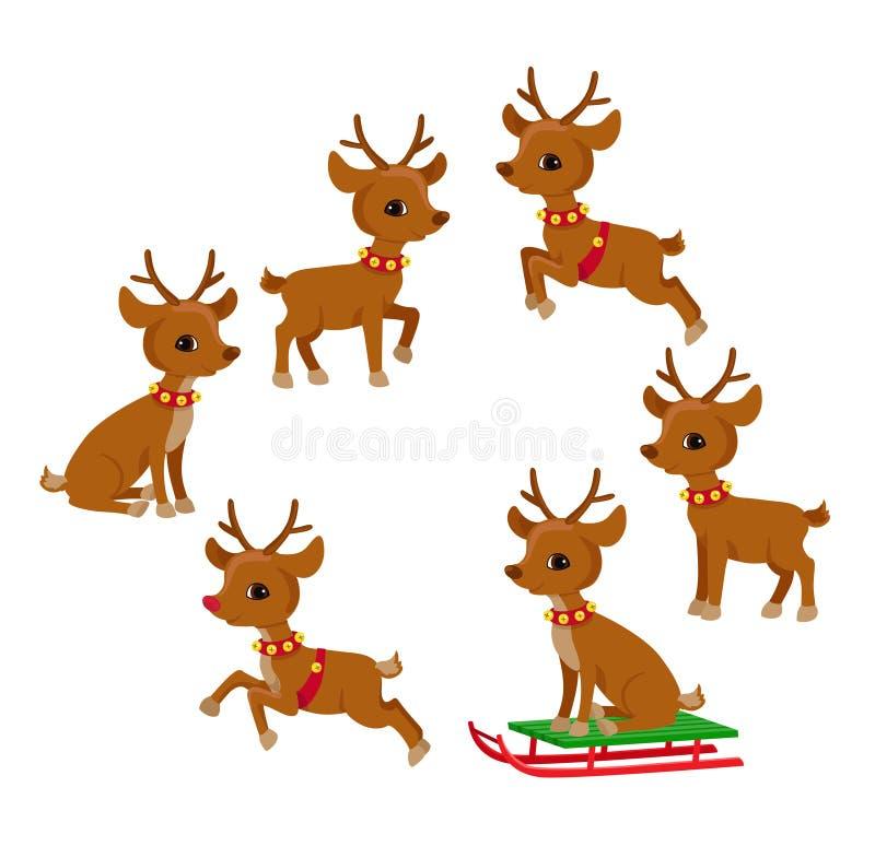 Sistema divertido de la Navidad del reno Ejemplo del vector de la historieta del día de fiesta stock de ilustración