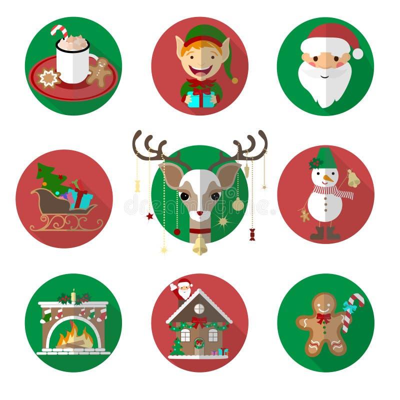 Sistema divertido de las imágenes del vector de los iconos de la Navidad Ejemplos planos ilustración del vector