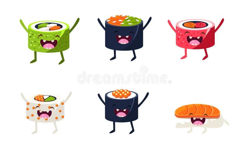 Sistema divertido de los caracteres del sushi, comida asiática con el ejemplo lindo del vector de las caras libre illustration