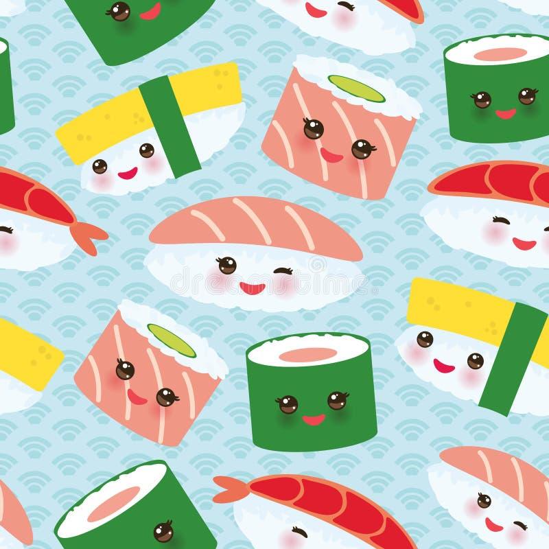 Sistema divertido de los rollos de sushi de Kawaii del modelo inconsútil con las mejillas rosadas y ojos grandes, fondo de los az ilustración del vector