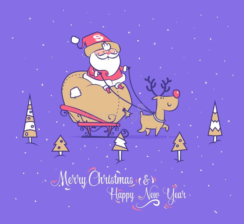 Sistema divertido de santa Cartel del fondo de la tarjeta de felicitación de la Navidad Ilustración del vector stock de ilustración