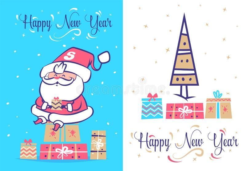 Sistema divertido de santa Cartel del fondo de la tarjeta de felicitación de la Navidad Ilustración del vector libre illustration