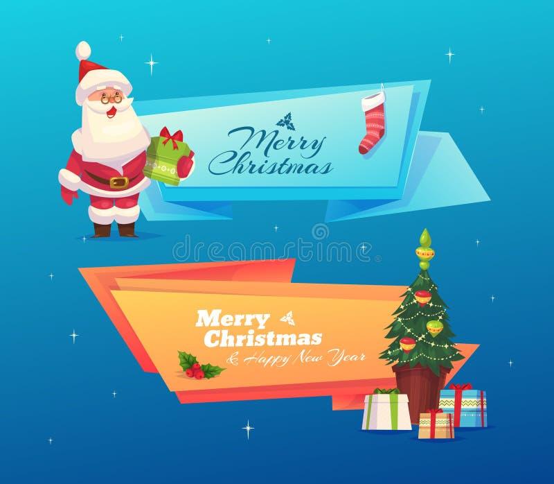 Sistema divertido de santa Papá Noel en un trineo ilustración del vector