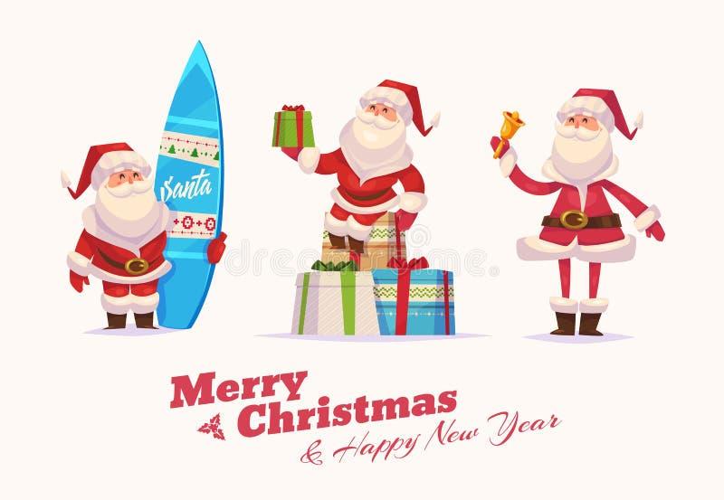 Sistema divertido de santa Papá Noel en un trineo libre illustration