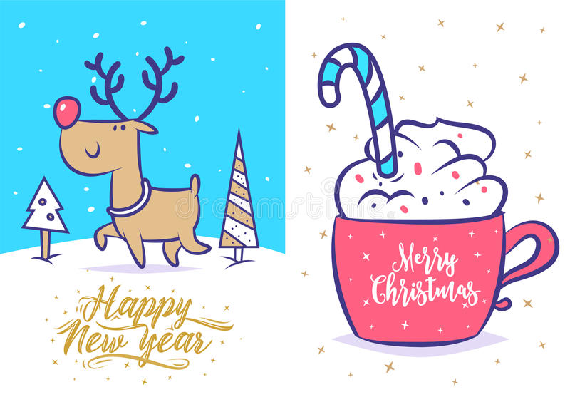 Sistema divertido del Año Nuevo Cartel del fondo de la tarjeta de felicitación de la Navidad Ilustración del vector stock de ilustración