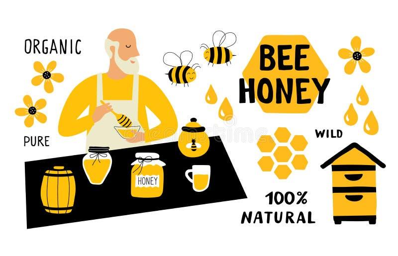 Sistema divertido del garabato de la miel de la abeja Apicultor, apicultura, vendedor del mercado de la comida Ejemplo exhausto d stock de ilustración