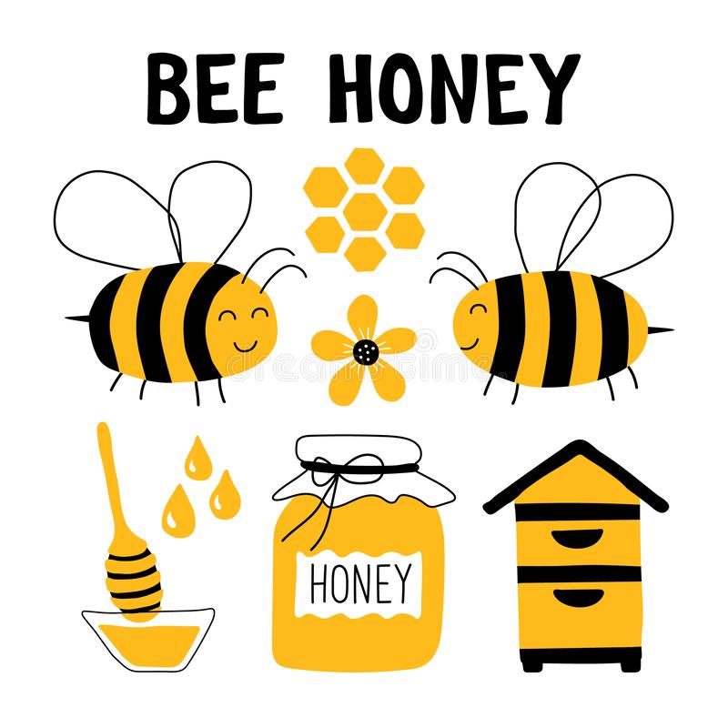 Sistema divertido del garabato de la miel de la abeja Apicultura, apicultura: abeja, colmena, cuchara, panal, tarro Ejemplo lindo ilustración del vector