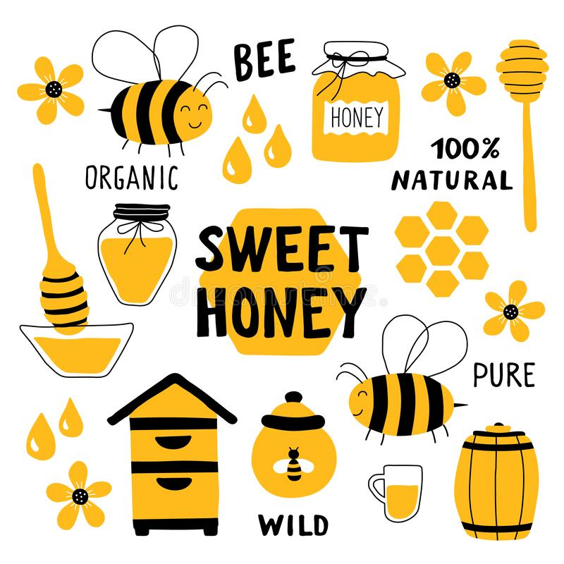 Sistema divertido del garabato de la miel Apicultura, apicultura: abeja, colmena, cuchara, panal, tarro, pote Ilustraci?n drenada libre illustration