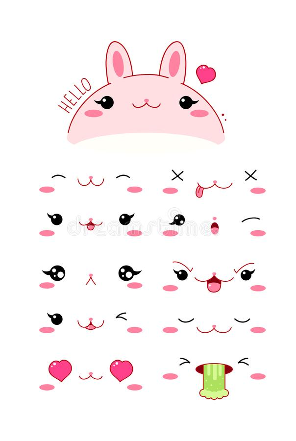 Sistema divertido del icono del emoticon del conejo del estilo del kawaii libre illustration