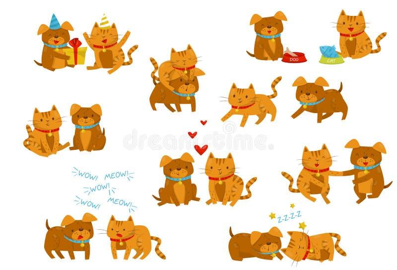 Sistema divertido del perro y del gato, personajes de dibujos animados nacionales lindos de los animales de animal doméstico en d stock de ilustración