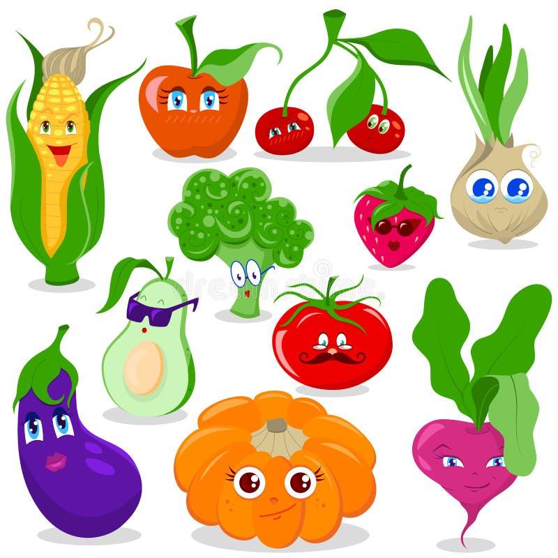 Sistema divertido del vector de la fruta y verdura de la historieta stock de ilustración