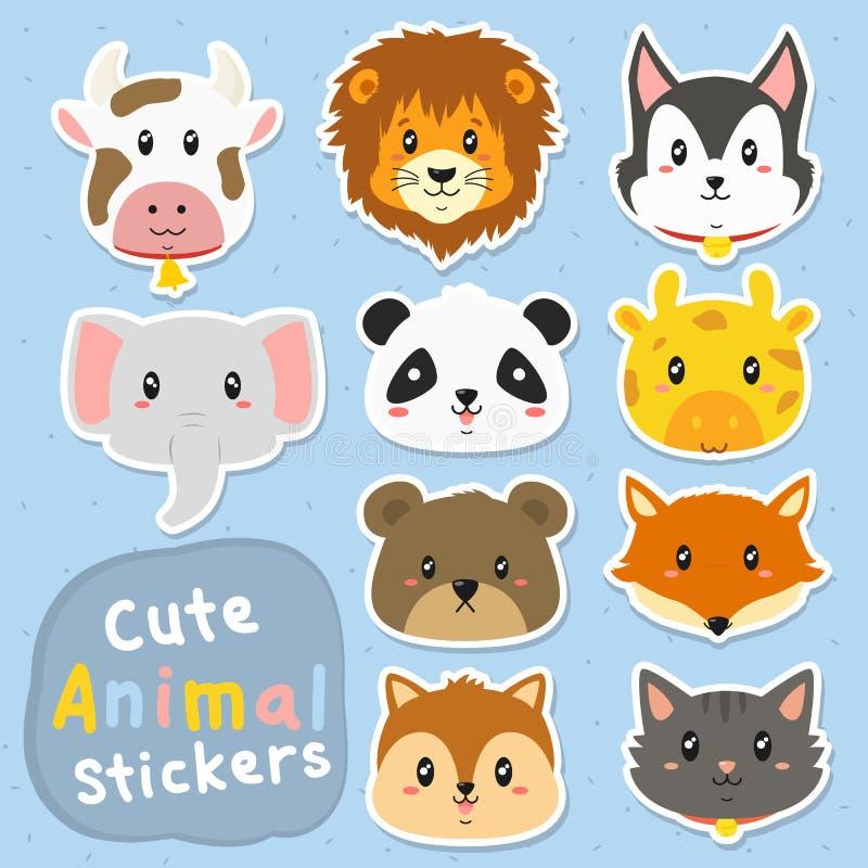 Sistema divertido del vector de las etiquetas engomadas de los animales stock de ilustración