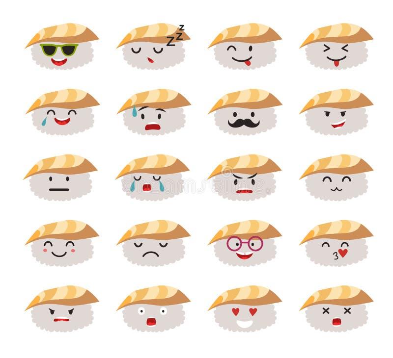Sistema divertido del vector de los caracteres del sushi libre illustration