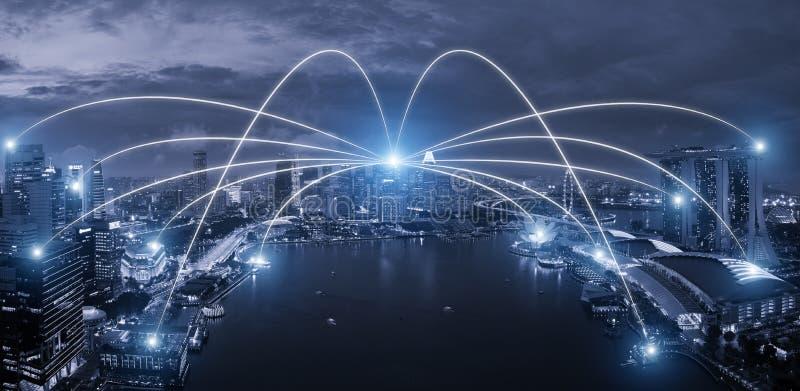 Sistema do conection do negócio da rede no scape esperto da cidade de Singapura foto de stock