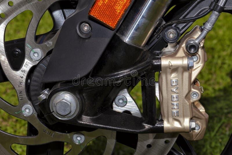 Sistema do disco do freio para o tipo Bybre da motocicleta por Brembo fotografia de stock royalty free