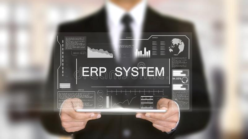 Sistema do ERP, conceito futurista da relação do holograma, realidade virtual aumentada foto de stock