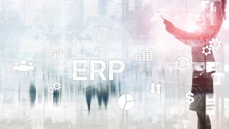 Sistema do ERP, planeamento do recurso da empresa no fundo borrado Automatização de negócio e conceito da inovação fotografia de stock royalty free