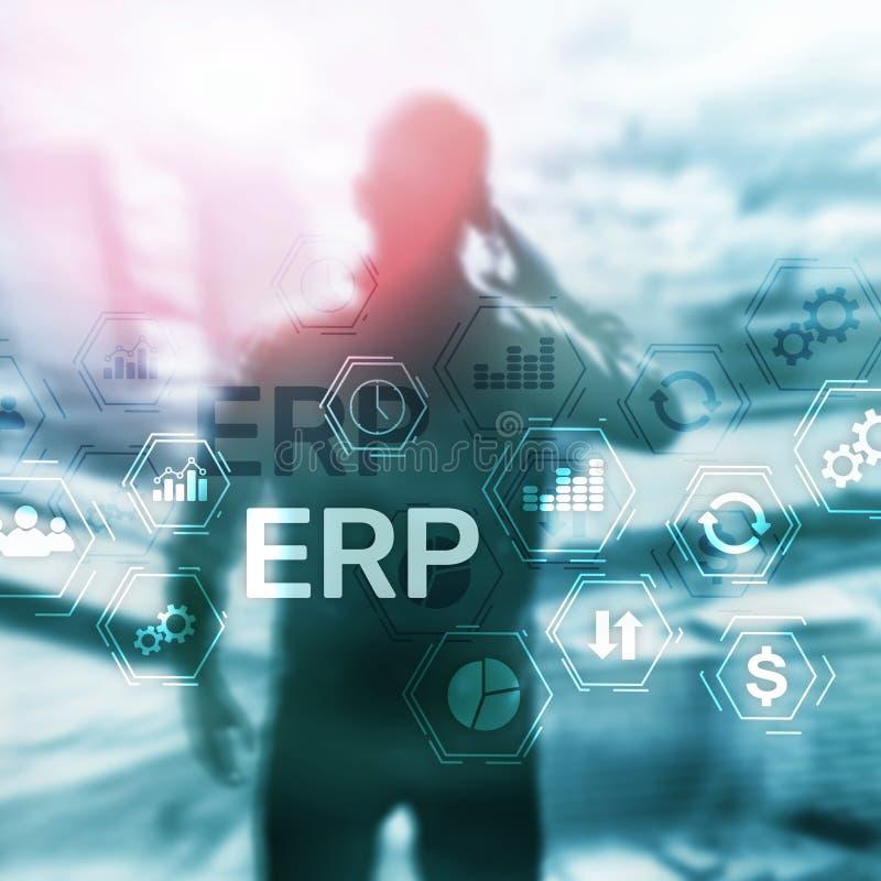 Sistema do ERP, planeamento do recurso da empresa no fundo borrado Automatização de negócio e conceito da inovação imagem de stock royalty free