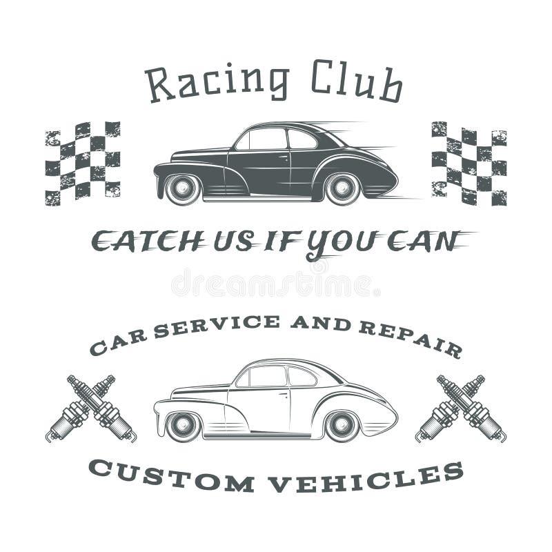 Sistema dos del vintage, etiquetas clásicas del coche, compitiendo con libre illustration