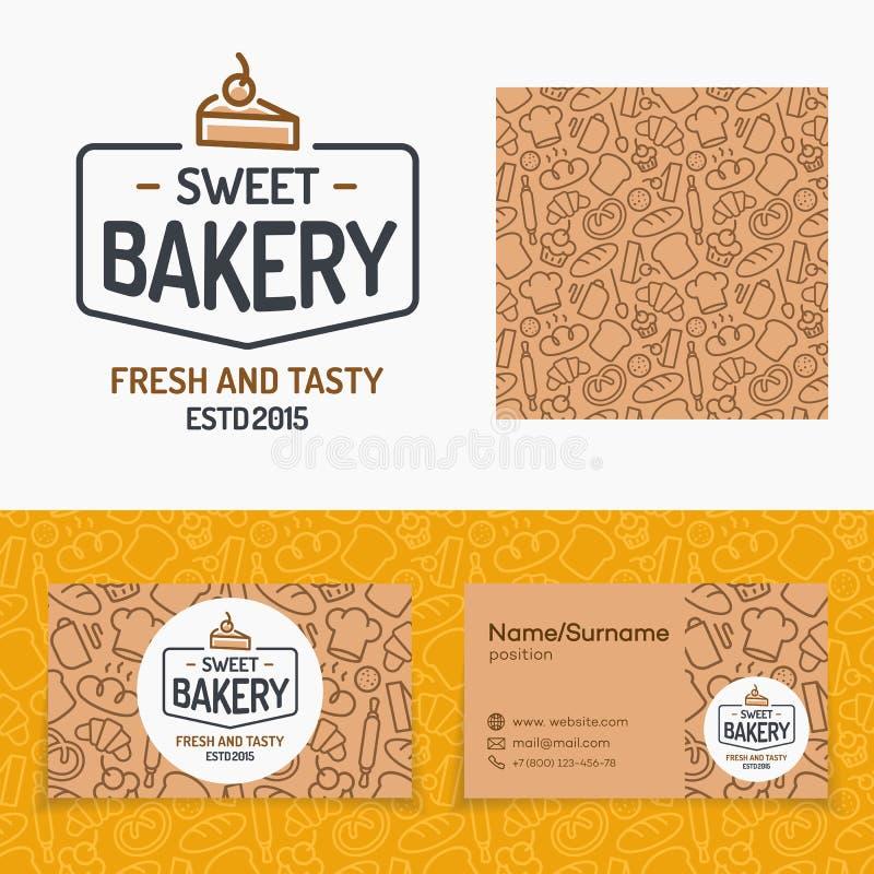 Sistema dulce de la panadería con el logotipo que consiste en la torta y muestra fresca y stock de ilustración
