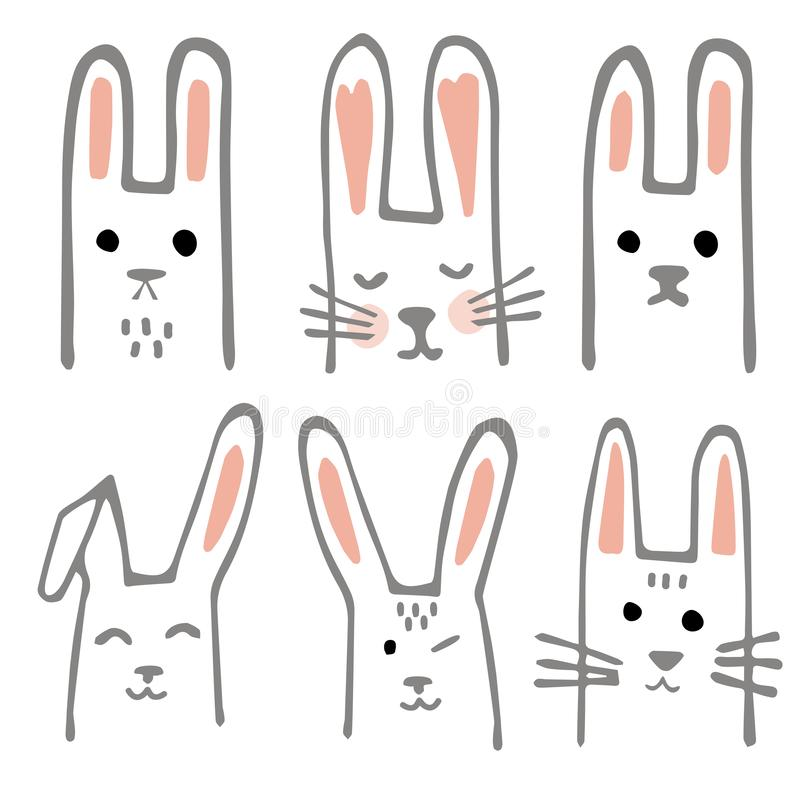 Sistema dulce de los conejitos Elementos escandinavos del diseño del estilo para el cuarto de niños Colección de Forest Rabbits,  libre illustration