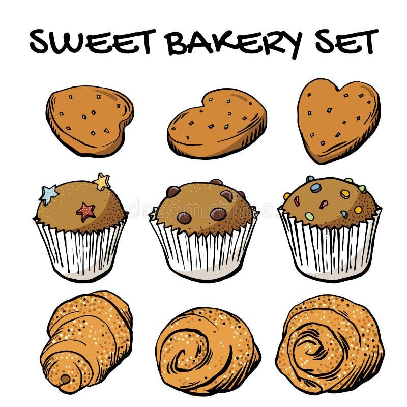 Sistema dulce del vector de la panadería; galletas y magdalenas fijadas en el vector EPS8 ilustración del vector