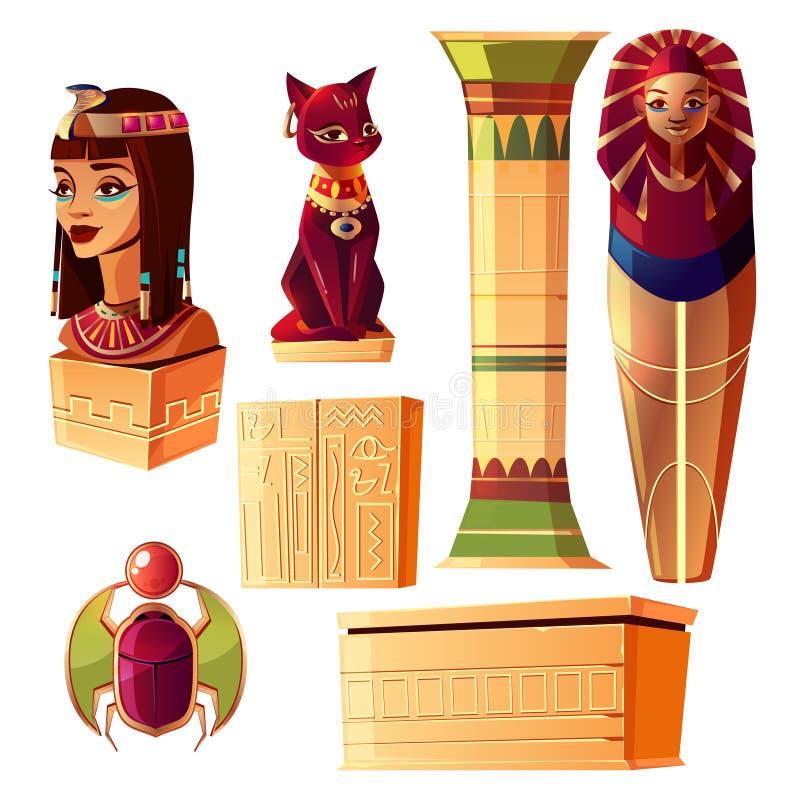 Sistema egipcio del vector - busto de la reina, sarcófago del faraón stock de ilustración